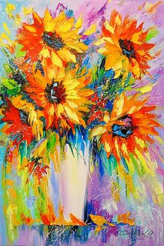 Buy Bouquet of sunflowers, Oil painting by Olha Darchuk on Artfinder. Discover thousands of other original paintings, prints, sculptures and photography from independent artists. Art Floral, Oil Painting On Canvas, Canvas Art, Painting Art, Sunflower Art, Watercolor Flowers, Painting Flowers, Paintings Of Sunflowers, Sunflower Paintings