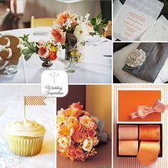 orange and grey wedding. lovely!