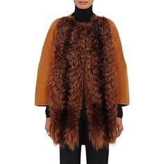 Barneys New York Women's Fur-Front Wool-Cashmere Coat (€1.365) ❤ liked on Polyvore featuring outerwear, coats, rust, brown wool coat, fur-collar wool coats, rust coat, barneys new york and cashmere coat