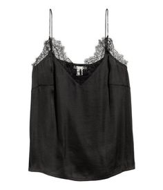 c4248eaab8c52a Black. Camisole top in airy satin with narrow shoulder straps