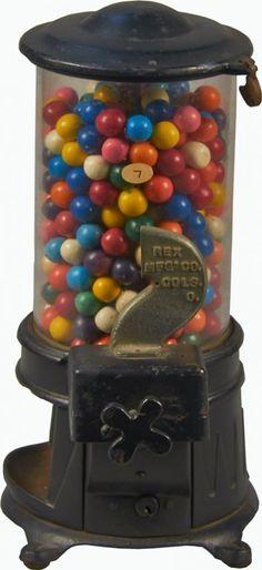 """1 Cent """"REX"""" Cast-Iron Vending Machine c1908"""