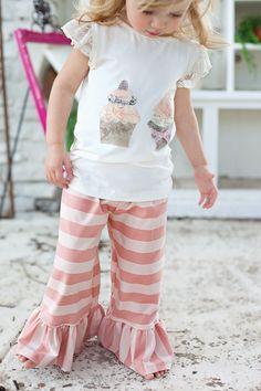 Ivory Kate top, Pink Stripe Bells