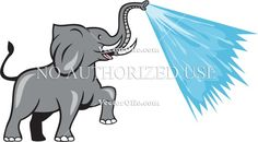 Elephant Marching Spraying Water Cartoon Cartoon Stock Illustration. Illustration of an african elephant marching prancing spraying water from trunk viewed from the side set on isolated white background done in cartoon style. #illustration #ElephantMarching