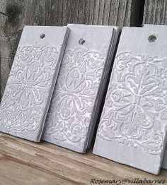 stencils and wood filler, or joint compound raised designs, art