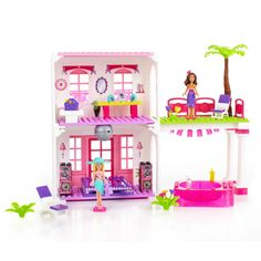 Barbie Doll Pink Luxury Mansion Doll House Furniture Clothes Shoe Purse Elevator