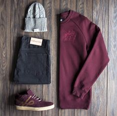 """It's never too soon for black & maroon as shown in today's grid featuring: Beanie by Syndicate-UKR, Crewneck by Well Dressed Vandals-AU, Denim by…"" Mode Outfits, Casual Outfits, Fashion Outfits, Womens Fashion, Mode Masculine, Stylish Men, Men Casual, Mode Cool, Look Man"