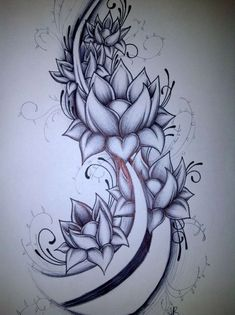 Image result for lotus flower thigh tattoo