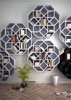 MiniZelli by Younes Duret Design. Bookshelves inspired by Moroccan zellij mosaic forms. Assembly without nails, screws, or glue.