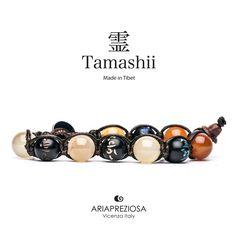 Tamashii - Bracciale originale tibetano (tg. L) realizzato con pietre naturali Corniola e legno orientale autentico con SIMBOLI MANTRA incisi a mano