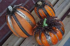 30 Creative Ways to Decorate a Pumpkin with Ribbon for Halloween. Pumpkin decorating with Ribbons are also kid-friendly, so anyone can join in on the fun. Fake Pumpkins, Halloween Pumpkins, Halloween Crafts, Halloween Decorations, Fall Decorations, Halloween Party, Halloween Stuff, Seasonal Decor, Halloween Ideas
