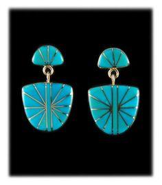 Sunburst Inlay Sleeping Beauty Turquoise Drop Earrings