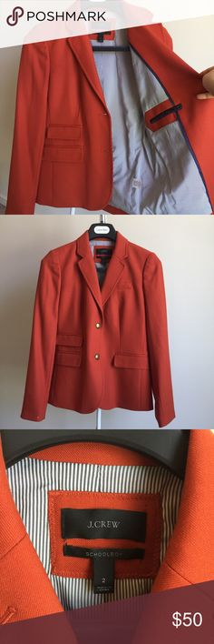 J. Crew Schoolboy Blazer Barely worn. Excellent condition (but small stain/pintch on right sleeve. plz check pictures). School boy collection. Fantastic Orange brown color. My favorite Style is Everlane Madewell J. Crew Jackets & Coats Blazers
