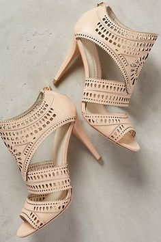 Anthropologie AERIN LIA HEELS #anthrofave #heels #neutral #shoes