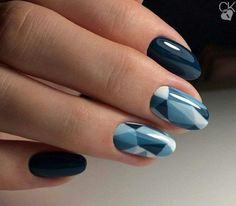 #bluenails www.finditforweddings.com Geometric Nail Art