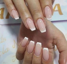 French Tip Acrylic Nails, White Tip Nails, French Manicure Nails, Cute Acrylic Nails, Cute Nails, Pretty Nails, Long French Nails, White French Nails, Diy Nails