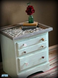 Another idea for my dressers. (They have already been loved on a bit, so the distressed bit is already half done. lol)