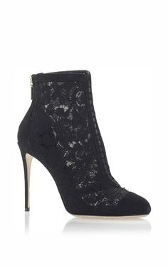 Lace ankle boots with covered buttons by DOLCE & GABBANA Now Available on Moda Operandi
