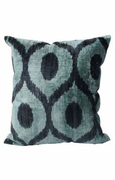 Rugs USA Ikat Velvet Silk And Cotton Decorative Pillow Turquoise