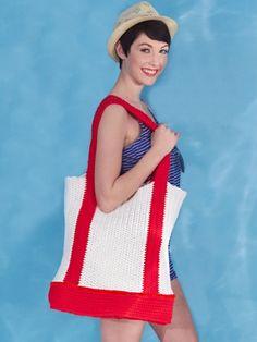 Nautical Tote Bag | Yarn | Free Knitting Patterns | Crochet Patterns | Yarnspirations