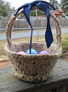 Crocheted  Easter  Basket -   -   -   - (HahnMade on Etsy, $8.50)