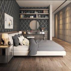Grey/White + wooden floor