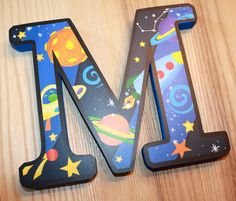 WOODEN WALL LETTERS Outerspace Boys Bedroom Baby by ToadAndLily
