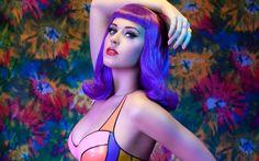 Katy #katy #perry #purple #hair #long #medium #color #vibrant #singer #celebrity