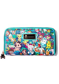 Tokidoki Long Wallet has yer cute ass besties guardin' yer chedda, babe. This wallet features all yer fav characters hangin' out on da front, a roomy interior fer all yer ca$h and cards, and a wrap around zipper closure with a lil heart N' crossbones charm.