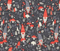 Nordic Gnomes // by petite_circus fabric by petite_circus on Spoonflower - custom fabric