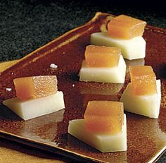 quince & manchego. finecooking. beautiful and easy if you buy the quince paste. ;-)