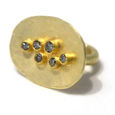 Petra Class - Lost wax bowl ring with brown diamonds, 18/22k gold 2010 - Gallery Lulo