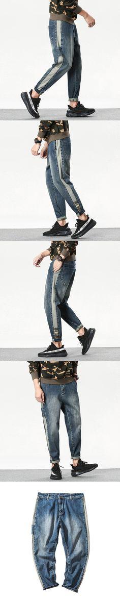 2017 Autumn Japanese Men's Biker Elasticity Baggy Jeans Haren Denim Pants Casual Fashion Brand Hip Hop Big Yards Trousers