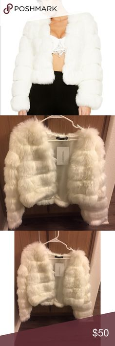 NWT Naked Wardrobe White faux fur Jacket Selling my beautiful crop Fur jacket from Naked Wardrobe. It has never been worn! Size Large but could also fit a medium!✨💕 sold out on website* ⭐️*open to reasonable offers*⭐️ naked wardrobe Jackets & Coats