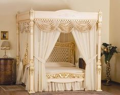 Exclusive Classic Canopy Bed Luxurious Design, Baldacchino Supreme by Stuart Hughes - Home Design Inspiration Canopy Bed Curtains, Queen Canopy Bed, Wood Canopy, Queen Bedroom, Canopy Bedroom, Master Bedroom, Contemporary Canopy Beds, Bedroom Furniture, Bedroom Decor