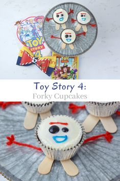 Toy Story Forky Cupcakes - My Big Fat Happy Life These cute Forky cupcakes inspired from the movie Toy Story 4 are a fun way to celebrate the release of the new movie to theaters. Fête Toy Story, Bolo Toy Story, Toy Story Theme, Toy Story Party, Toy Story Food, Toy Story Crafts, 4th Birthday Parties, 3rd Birthday, Birthday Ideas