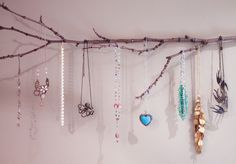 Finally did the tree branch jewelry holder I saw on pinterest. All it took was a good stick and one nail,