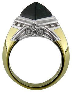 Art Deco sugarloaf-cut dark green tourmaline ring