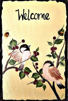Painted Slate Two Chickadees on a Cream by  #dteam WhatsInGrampasShack, $ 27.00