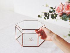 NEW! Glass Keepsake Box / Wedding Photo Box / Lidded Geometric Card Box / Copper Hexagon Box / Hinged Jewelry Box / Rose Gold Picture Box