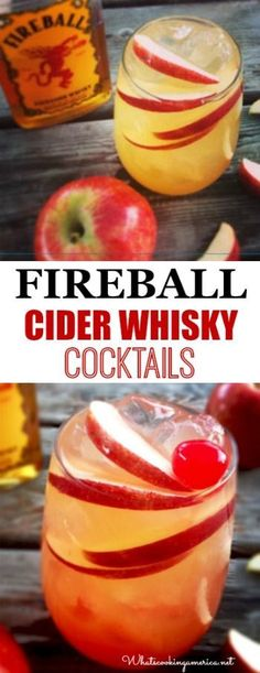 Fireball Cider Whisky Cocktail Rezepte - Classic & Cider Bomb… - Drinks - Eat Or Not Fireball Drinks, Fireball Recipes, Alcoholic Drinks, Fireball Whiskey, Bourbon Drinks, Alcohol Recipes, Beverages, Fireball Apple Cider Recipe, Beste Cocktails