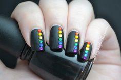 Nails by Kayla Shevonne: Pinterest Week - Matte Black & Rainbow Rhinestones