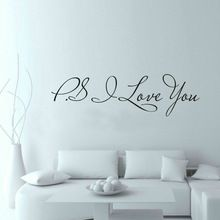 PS I Love You - Wall Art Decal - Home Decor - Famous & Inspirational Quotes Living Room Bedroom Removable Wall Stickers ZY8017(China (Mainland))