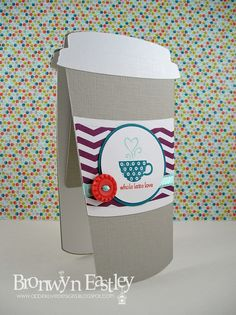 """1/2/2013; Bronwyn Eastley at 'AddINKtive designs' blog; coffee cup gift card; """"Patterned Occasion"""" stamp set"""