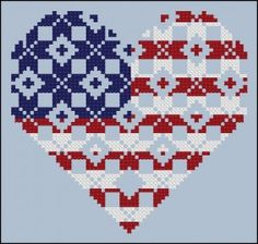 free chart heart flag possibly other fun designs Cross Stitch Designs, Cross Stitch Patterns, Cross Stitching, Cross Stitch Embroidery, Cross Stitch Freebies, Quilt Of Valor, Cross Stitch Heart, Patriotic Crafts, Needlepoint Patterns