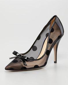 So sweet! kate spade new york lisa large dot mesh pump - Neiman Marcus