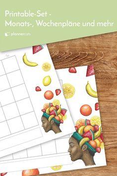 Schreibtischorganisation zum Ausdrucken; Monatsübersichten,  Wochenpläne,  Tagesplan und Notizseiten im frischen, fruchtigen Design. Apps, Handmade Gifts, Printables, Digital, Etsy, Design, Products, Deutsch, Staying Organized