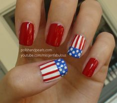 American Flag Nails - Polish and Pearls