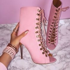 Millennial pink lace up peep toe booties