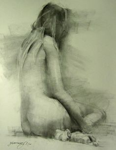 "Zhaoming Wu ""In the Shawdow Charcoal"" on paper. ॐ}*{ॐ"