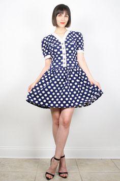 Vintage Navy Blue White Dress Polka Dot Dress Mini Dress Dolly Dress Lolita Dress Skater Dress Skater Skirt Kawaii Shirt Day Dress S Small M by ShopTwitchVintage #vintage #etsy #80s #1980s #dress #minidress #polkadots #twee